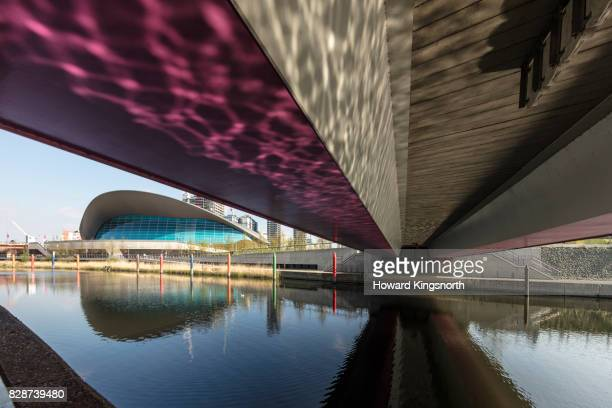 London Aquatic Centre and bridge with LED lighting