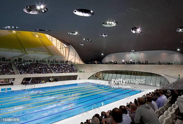 London Aquatic CentreLondon E9 United Kingdom Architect Zaha Hadid Architects London Aquatic Centre Zaha Hadid Architects London Uk View Of Swimming...