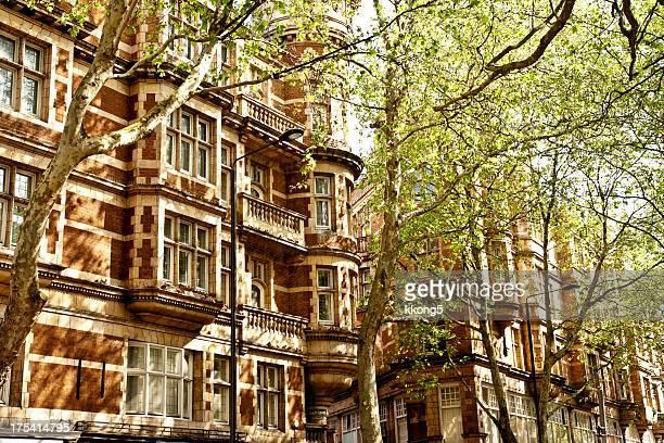 london Architektur: Klassische Fassade mit üppigen Bäumen in den Tag