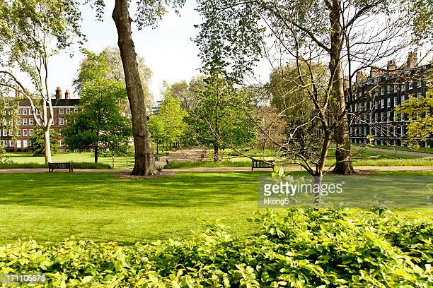 london architecture: luscious park in warm summer afternoon