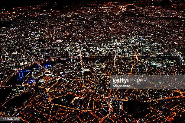 London at night time, taken from plane