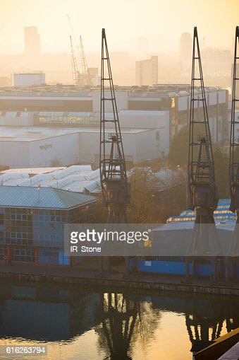 London at sunset,  view with cranes : Stock Photo