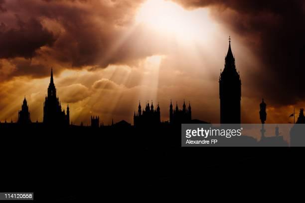 London backlit skyline on westminster