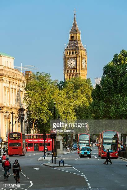 London, Big Ben and Whitehall from Trafalgar Squar
