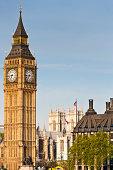 London Big Ben Westminster Abbey Union Jack flags UK
