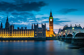 London bigben at night, UK, United Kingdom