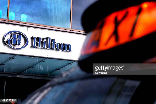 A 'London' black cab parked outside the Hilton Hotel on Park Lane London
