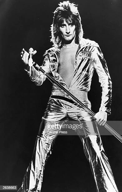 London born rock star singer Rod Stewart in a spectacular silver jumpsuit during the recording of his own television spectacular 'A Night On The Town'