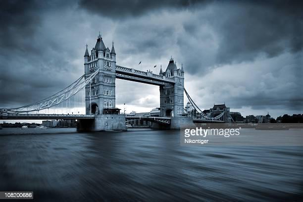 London bridge under stormy gray skies