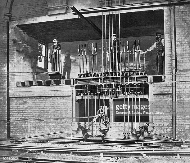 London Brighton South Coast Railway signal box at Victoria Station Pimlico London named the �holeinthewall� This image appears to be a photograph...