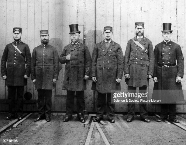 London Brighton South Coast Railway staff 1881 From left to right a ticket collector a ticket inspector a station superintendent a station inspector...