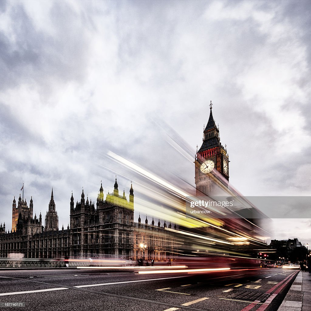 London bus, Houses of Parliament, Big Ben : Stock Photo