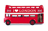 London bus toy isolated on white background