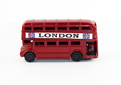 London bus souvenir isolated on white background