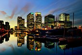 London, Canary Wharf at sunset