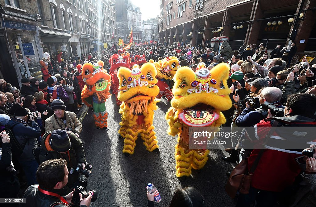 London celebrates Chinese New Year, the celebrations are the largest outside Asia. Performers celebrate the Year of the Monkey on February 14, 2016 in London, England.