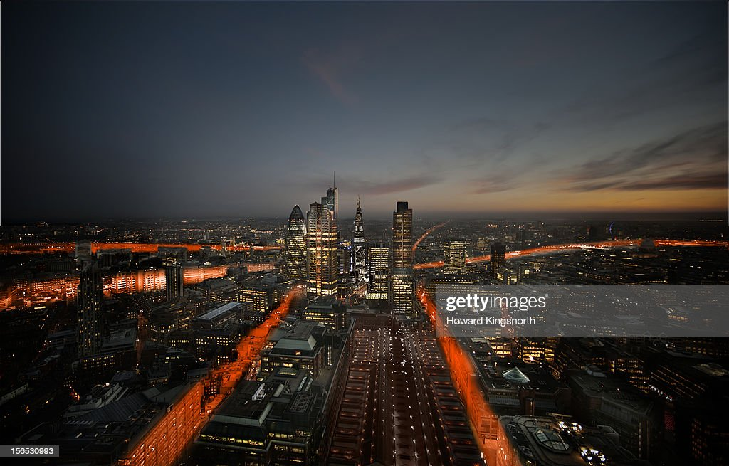London City Aerial trails : Stock Photo