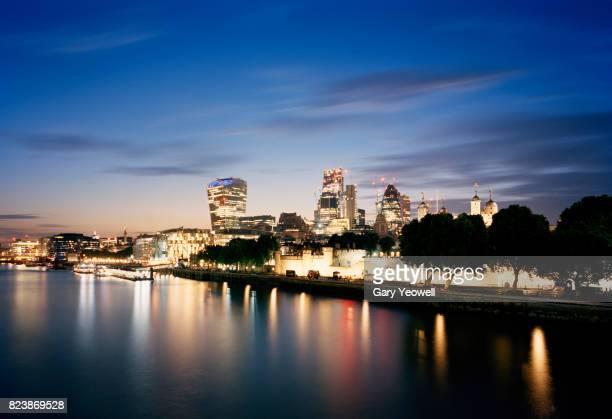 London city skyline along River Thames at dusk