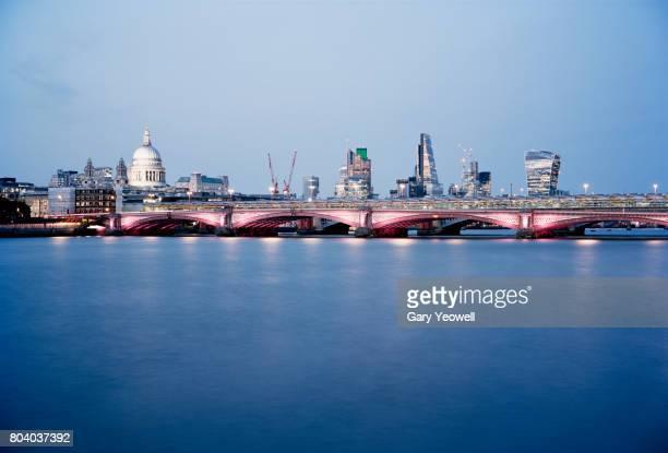 London City skyline and Blackfriars Bridge at dusk