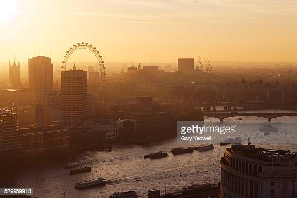 London city skyline and River Thames at sunset