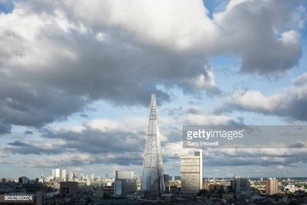 London City skyline and Shard with clouds above