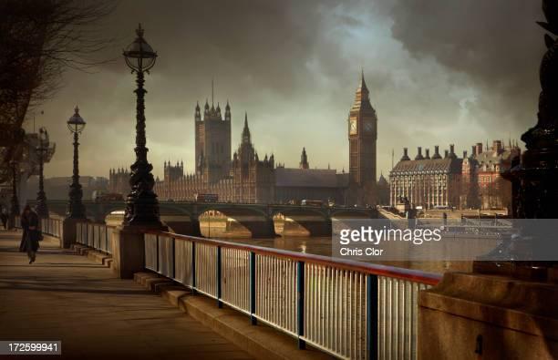 London city skyline and urban bridge, London, England