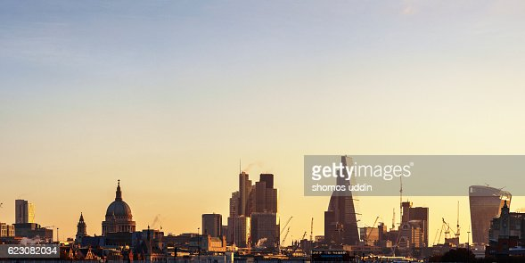 London city skyline at sunrise