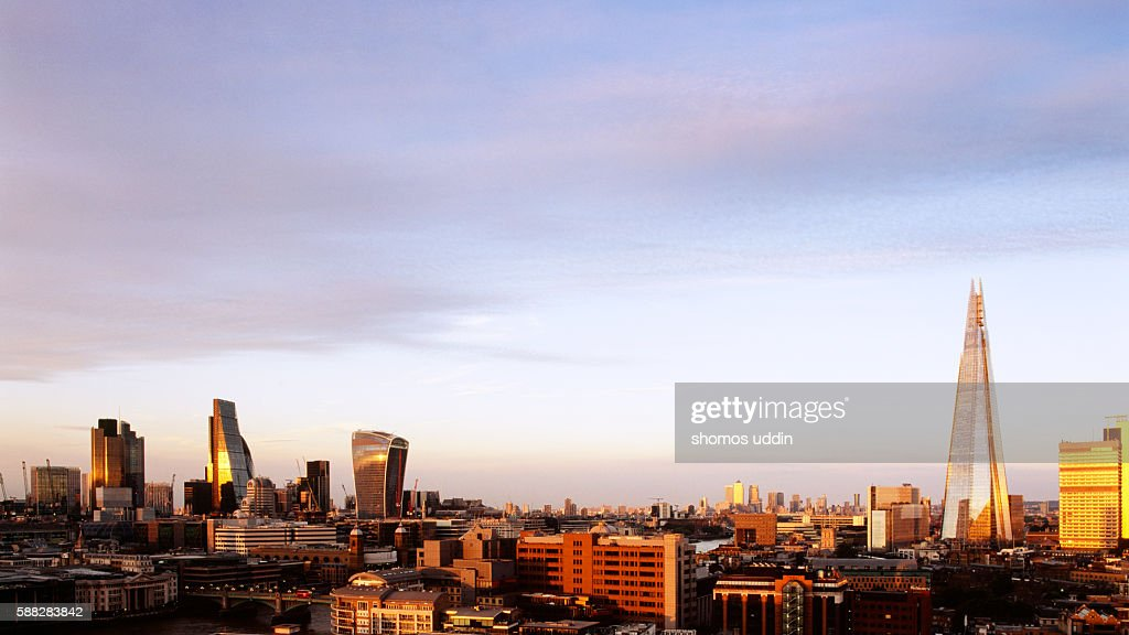 London city skyline at sunset - elevated view