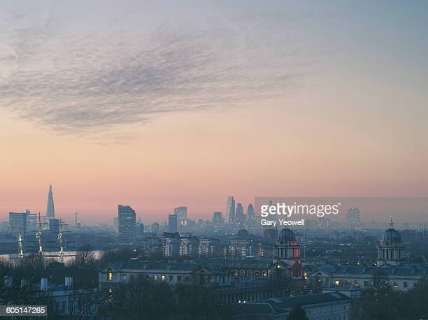 London City skyline at sunset