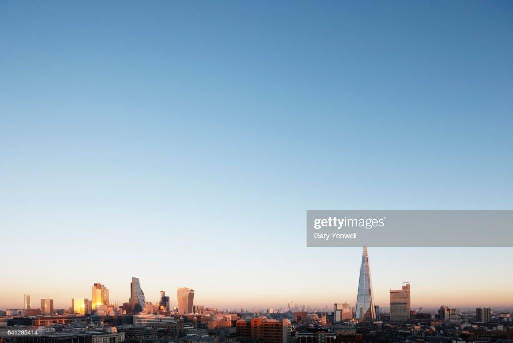 London city skyline at sunset : Stock-Foto