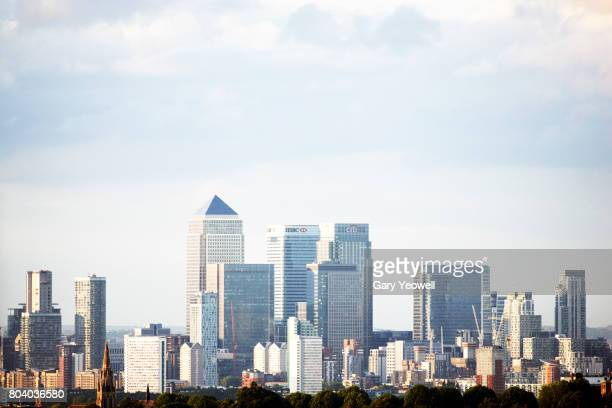 London city skyline of Canary Wharf in Docklands