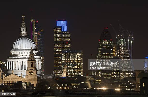 London city skyline of St Paul's Cathedral and The City including Tower 42 and The Gherkin