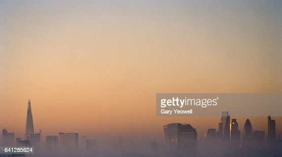 London city skyline on a foggy evening : Photo