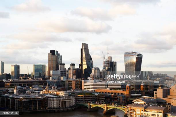 London City skyline with clouds above