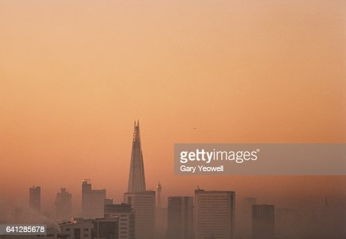 London city skyline with Shard in the mist : Stock Photo