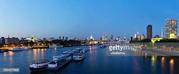 London - Cityscape looking East at dusk