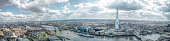 London Skyline Wide Panorama. East & South, Tower of London, River Thames Canary Wharf, The Shard, London Bridge. Landmark View