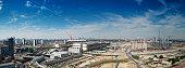 'London cityscape, urban regeneration area, 2012 sporting event'