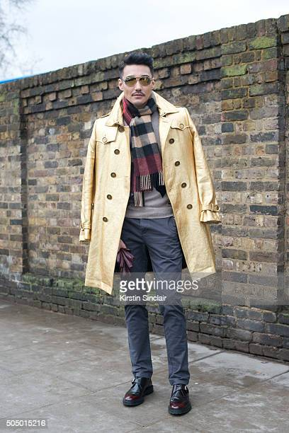 London Collections Men ambassador and model Hu Bing wears all Burberry 'n on day 4 of London Collections Men on Januay 11 2016 in London England Hu...