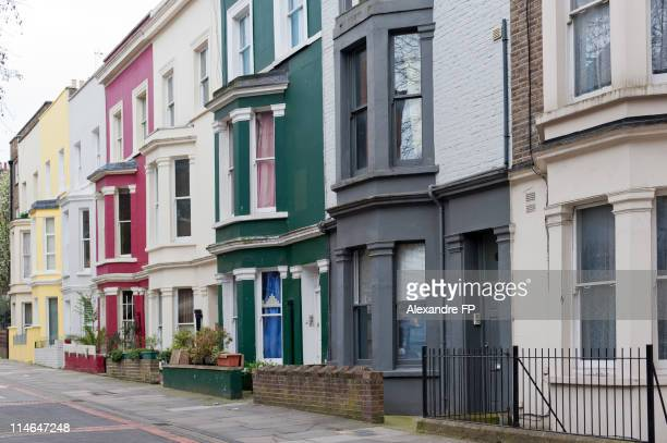 London - Colourful houses around Portobello Road