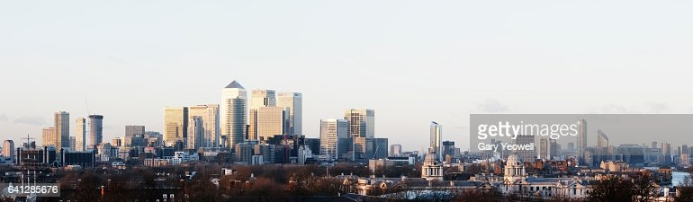 London Docklands city skyline panoramic : ストックフォト