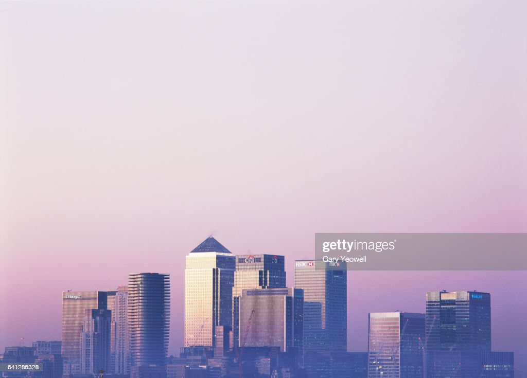 London Docklands skyline at sunset : Stock Photo
