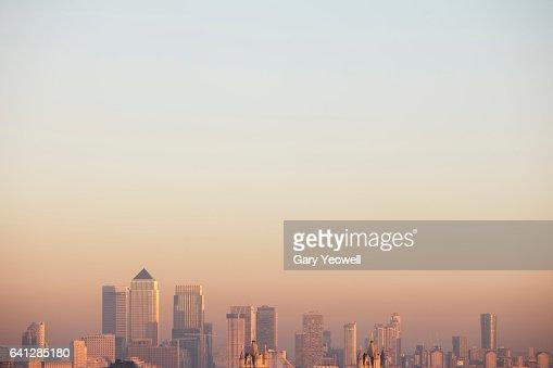 London docklands skyline : Foto stock