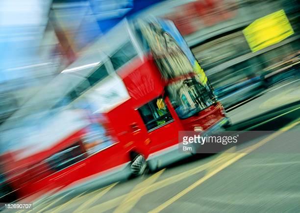 London Double Decker Bus in Motion