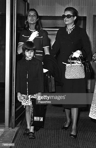 London England 10th September 1971 Princess Grace of Monaco wearing sunglasses and black coat in london with her daughters Princess Caroline aged 13...