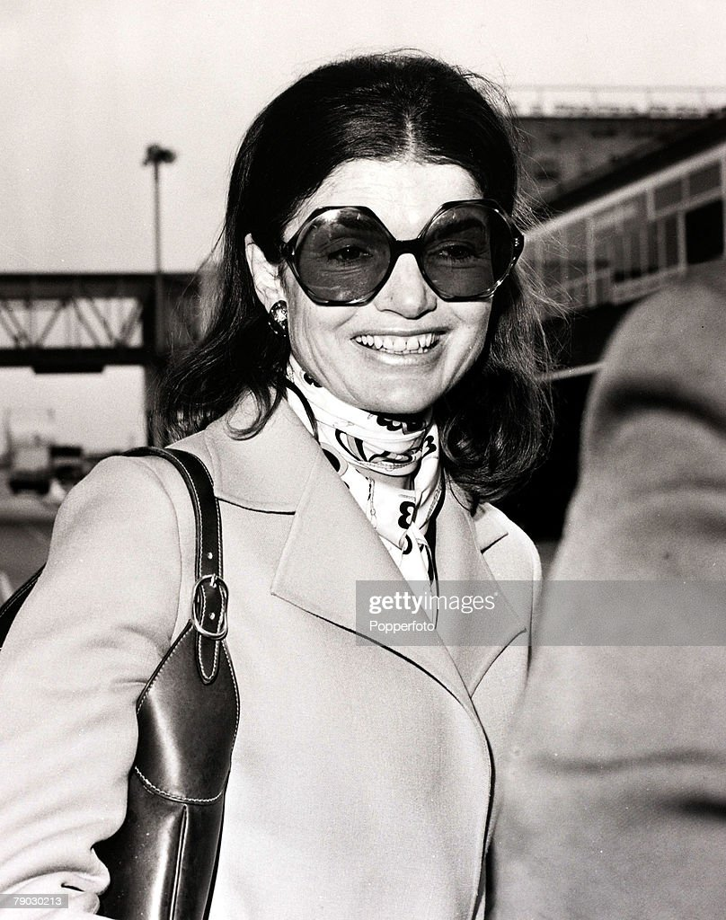 London, England, 11th June 1971, Mrs Jacqueline Onassis leaving London after a short holiday en-route for Paris