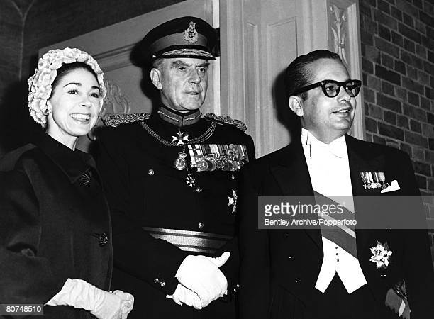 London England 13th December 1960 Ballet dancer Dame Margot Fonteyn and her husband Panamanian Ambassador Dr Roberto Arias stand with Marshal of the...