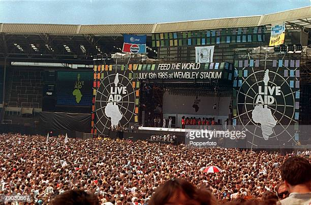 London England 13th July 1985 A general view of Wembley Stadium during the 'Feed The World' Live Aid Charity concert