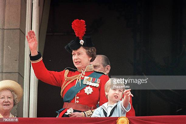 London England 15th June 1985 The Queen Mother Queen Elizabeth II and Prince William watch the Trooping of the Colour from the balcony of Buckingham...