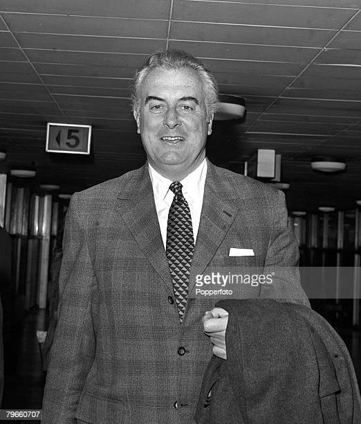 London England 18th January 1972 Australian opposition leader and politician Gough Whitlam is pictured arriving in London for Downing Street talks